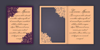 Wedding invitation or greeting card with vintage lace ornament. Mock-up for laser cutting. Vector illustration. stock illustration