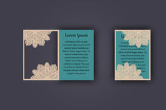 Wedding invitation or greeting card with vintage lace ornament. Mock-up for laser cutting. Vector illustration. Royalty Free Stock Photos