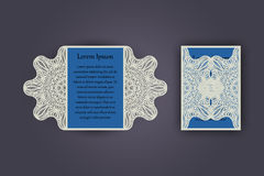 Wedding invitation or greeting card with vintage lace ornament. Mock-up for laser cutting. Vector illustration. Stock Photography