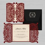 Wedding invitation or greeting card with vintage ornament. Paper Royalty Free Stock Image
