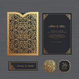 Wedding invitation or greeting card with vintage ornament. Paper Stock Photos