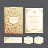 Wedding invitation or greeting card with vintage ornament. Paper Stock Photography
