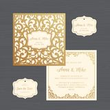 Wedding invitation or greeting card with vintage ornament. Paper. Lace envelope template. Wedding invitation envelope mock-up for laser cutting. Vector royalty free illustration