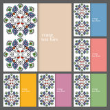 Wedding invitation or greeting cards collection. Design with floral pattern, ornamental vector illustration Stock Photography