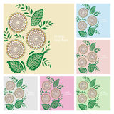 Wedding invitation or greeting cards collection. Design with floral pattern, ornamental vector illustration Royalty Free Stock Photo