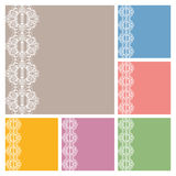 Wedding invitation or greeting cards collection design with lace pattern, ornamental  illustration.  Royalty Free Stock Photos
