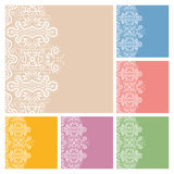 Wedding invitation or greeting cards collection design with lace pattern, ornamental  illustration.  Stock Photos