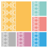 Wedding invitation or greeting cards collection design with lace pattern, ornamental  illustration.  Royalty Free Stock Photo