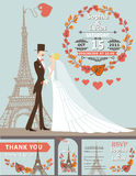 Wedding invitation.Groom,bride,Eiffel tower,autumn. Vintage wedding invitation.Cartoon flat bride,groom on retro dress on Paris street with Eiffel tower Stock Images