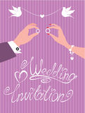 Wedding invitation -  groom and bride Royalty Free Stock Image