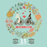 Wedding invitation .Groom,bride,retro bicycle,autumn wreath Stock Photo