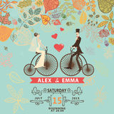 Wedding invitation .Groom,bride,retro bicycle, Stock Image