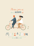 Wedding invitation with groom and bride riding tandem bicycle. Cute newlyweds  a bike, going to honeymoon. Royalty Free Stock Photos