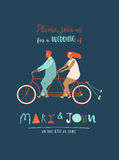 Wedding invitation with groom and bride riding tandem bicycle. Cute newlyweds  a bike, going to honeymoon. Stock Photography