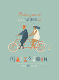 Wedding invitation with groom and bride riding tandem bicycle. Cute newlyweds  a bike, going to honeymoon. Royalty Free Stock Image