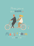 Wedding invitation with groom and bride riding tandem bicycle. Cute newlyweds  a bike, going to honeymoon. Stock Images