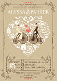 Wedding invitation.Heart composition.Bride,groom Stock Photos