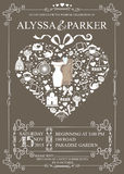 Wedding invitation with heart composition.Wedding Stock Photo
