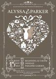 Wedding invitation with heart composition.Wedding Stock Photo