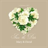 Wedding invitation with  heart of flowers. Vector Royalty Free Stock Images