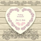 Wedding invitation in heart form  with doodle floral elements Royalty Free Stock Image