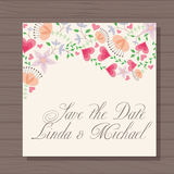 Wedding invitation with hearts and flowers on wooden background Royalty Free Stock Photo