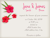 Wedding invitation with hibiscus flowers. Wedding invitation with red hibiscus flowers background Royalty Free Stock Photography
