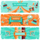 Wedding invitation horizontal banners in retro Royalty Free Stock Photo