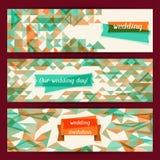 Wedding invitation horizontal banners in retro Stock Photo