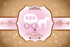 Wedding invitation with horse carriage. And calligraphic text and ornaments - eps 10 vectors stock illustration