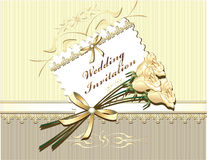 Wedding Invitation In Gold Colors Royalty Free Stock Photo