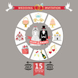 Wedding invitation in infographic style.Retro wedding wear Stock Photography