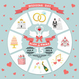 Wedding invitation in infographic style. Swans couple Stock Image