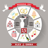 Wedding invitation in infographic style.Wedding wear Royalty Free Stock Photos