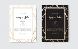 Wedding Invitation, invite card design with Geometrical art lines, gold foil border, frame. Vector modern geometric abstract template layout royalty free illustration