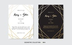 Wedding Invitation, invite card design with Geometrical art lines, gold foil border, frame. Vector modern geometric abstract template layout vector illustration
