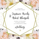 Wedding Invitation, invite card Design with pink peach Rose  flo Royalty Free Stock Photo