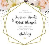 Wedding Invitation invite card Design with pink peach Rose  flow Royalty Free Stock Photography
