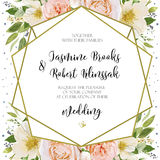 Wedding Invitation, invite card Design with pink peach Rose flow Stock Images