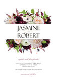 Wedding Invitation Invite Card Design: Rose Anemone Dahlia Flower Thistle Herb Plant Leaf Bouquet Frame Border Crown. Vector Royalty Free Stock Image