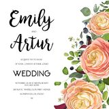 Wedding Invitation, invite card Design with watercolor hand draw. N pink peach rose ranunculus flower privet blue berry,eucalyptus, fern leaf bouquet, lovely Royalty Free Stock Photos