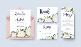 Wedding Invitation invite card Design with watercolor white rose ranunculus garden flower privet blue berry eucalyptus mistletoe g. Reen fern leaf greenery Royalty Free Stock Images