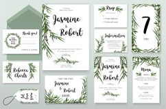 Wedding Invitation invite card Design with willow Eucalyptus green agonis branches, leaves foliage composition greenery wreath. V royalty free illustration