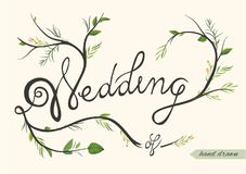 Wedding invitation, invite card poster hand drawn element with f. Orest herbs and leaves. Elegant rustic style watercolor ink quote. Hand drawn lettering. Vector Stock Image