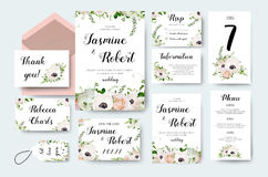 Wedding invitation invite flower invite card design with light p Royalty Free Stock Photography