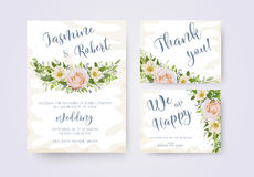Wedding invitation invite flower invite thank you card design:   Stock Photos