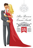 Wedding invitation Kissing Couple  with chandeliers Royalty Free Stock Images