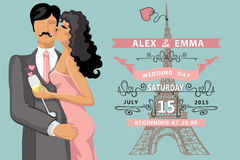 Wedding invitation.Kissing couple ,Eiffel tower Stock Images