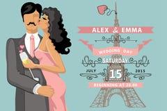 Wedding invitation.Kissing couple ,Eiffel tower Stock Images