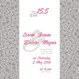 Wedding invitation with Lace background Royalty Free Stock Photography